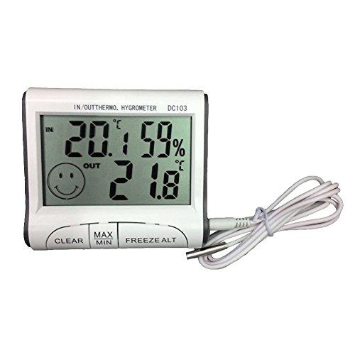 NAttnJf Thermometer Hygrometer Wecker LCD Digital-LCD-Thermometer-Hygrometer-Sensor-Temperatur-Feuchtigkeits-Meter-Messgerät-Uhr Weiß