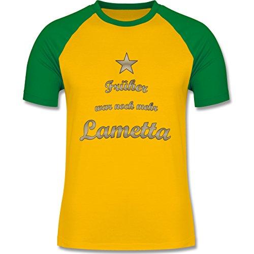 Weihnachten & Silvester - Früher war noch mehr Lametta - zweifarbiges Baseballshirt für Männer Gelb/Grün