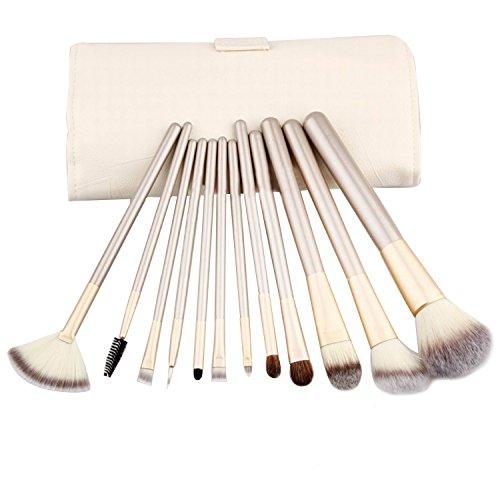 Vococal® 12 Pcs Nylon Maquillage/Cosmétique brosse Pinceau Set - Poignée Champagne Couleur Bois avec Étui