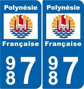 2 stickers drapeau polynesie style plaque immatriculation d partement 987. Black Bedroom Furniture Sets. Home Design Ideas