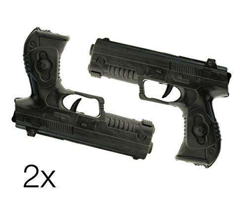 TK Gruppe Timo Klingler 2X Pistolen Kostüm für Fasching Karneval Herren und Damen Pistole wie Geheimagent, Lara Croft, SWAT, Tomb Raider, Polizei