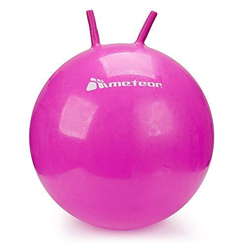 meteor® Bouncy Hüpfball Gummiball Hopsball Sprungball Springball Hopser 55cm - 65cm Plus UP Aufkleb (Rosa 55cm)
