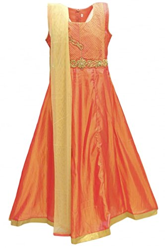 Fancy Dress Childrens Billig (GCS2786 Orange-Red und Gold Girl's Churidar Anzug Indian Bollywood Fancy Dress 36 (approx 12-14)