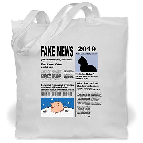 Shirtracer Karneval & Fasching - Fake News 2019 Kostüm Newspaper Zeitung - Unisize - Weiß - WM101 - Stoffbeutel aus Baumwolle Jutebeutel lange - Zeitung Kostüm Kinder