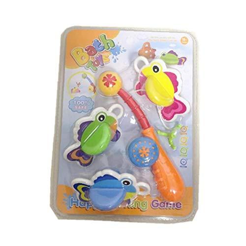 VlugTXcJ 4pcs / Set-Bad-Spielzeug Angelspiel Float Fisch Und Angelrute Kinder Badewanne Wasser Squirt Comes Badewanne Badezimmer Pool Time for Kids (Zufällige Farbe) -