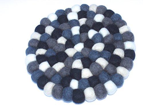 Filzkugel Untersetzer schwarz-grau-weiß Topfuntersetzer bunt 20 cm per Hand aus reiner Merino Wolle gefertigt