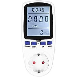 KKmoon 230V Medidor de Energía Lcd Digital Plug-In Enchufe de la Ue Voltaje Voltaje Frecuencia ActualAnalizador Monitorcon Factor PotenciaPantalla Sobrecarga Costes