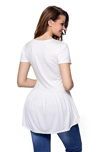 La vogue Damen Sommer Shirt Tops V-Ausschnitt Weiß