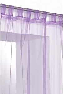 Rideau Voilage Organza Uni a Pattes Violet Mauve