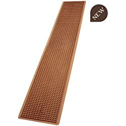 Bar mat Alfombrilla de goma soporte para vasos de banco 70 x 10 cm-B008MC cobre