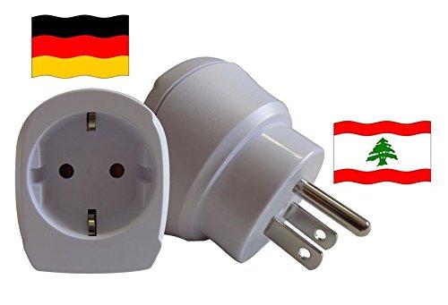 Travel Plug Libanon für Geräte aus Deutschland. (Schutzkontakt und Kindersicherung, 1650 Watt Leistung)