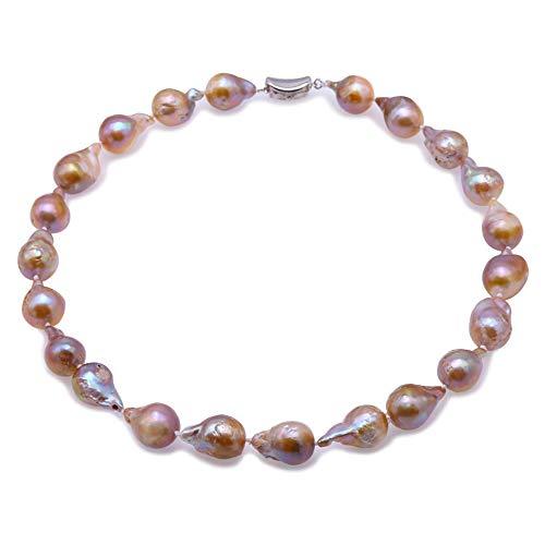 JYX barock perlenkette Halskette mit Süßwasser Zuchtperlen Lavendel Barock 46 cm