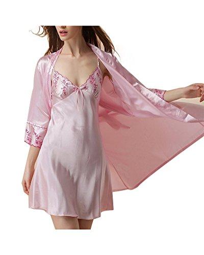 Ensemble 2Pcs Peignoir Femme Robe de Chambre Col-V Chemise de Nuit en Satin Imitant Pyjama pink