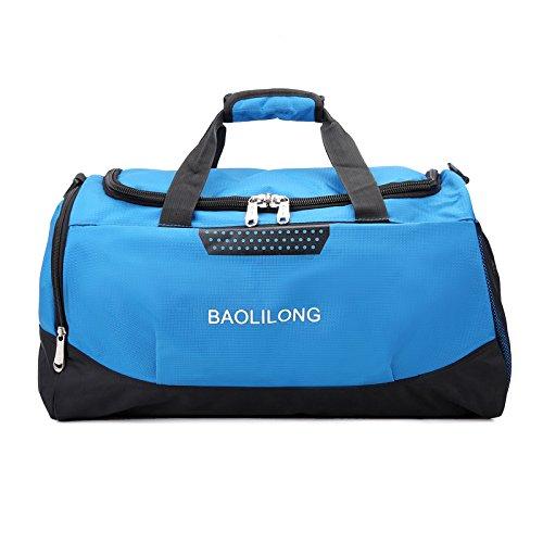 LaDicha Wasserdichte Sport Duffels Reisetasche Training Gym Fitness Taschen Multifunktions-Schultertasche - Blau
