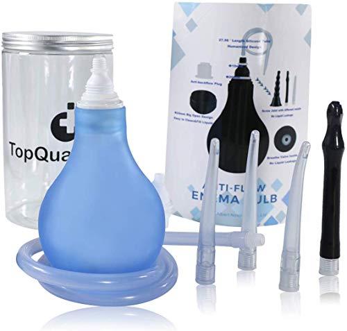 TopQuaFocus Dual Mode Enema bulb + Enema Bag kit Premium Irrigator Silikon Anal-Spülung,Analdusche und Vaginaldusche hygienischen Darmreinigung Einläufe BPA-frei 320ml (Blau)
