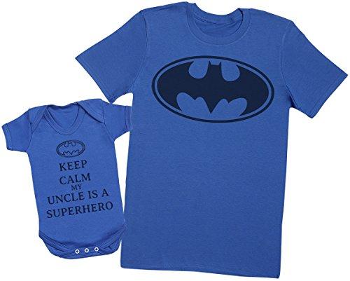 Zarlivia Clothing Keep Calm My Uncle is A Superhero - Passende Onkel Baby Geschenk-Set - Herren T-Shirt & Baby Strampler - S & 0-3 Monate