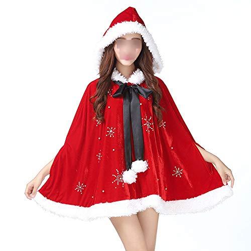 Wanlianer Weihnachtsmann-Kostüm Frauen Weihnachten Rot Schal Umhang Mit Kapuze Mit Pompom Adult Phantasie Cosplay Party Zubehör Kostüm Weihnachtsfest Kostüm