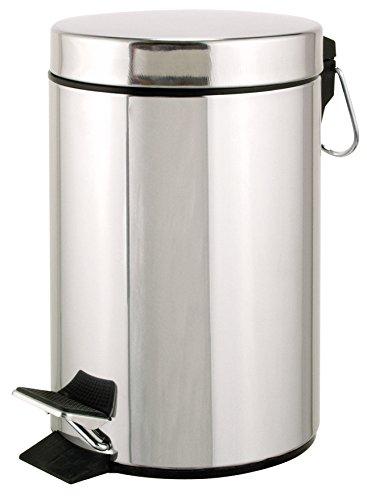 axentia Kosmetikeimer in Silber, ca. 3l Badeimer, Abfallbehälter aus rostfreiem Edelstahl, Mülleimer mit Kunststoffeinsatz, Treteimer ideal für Küche und Bad