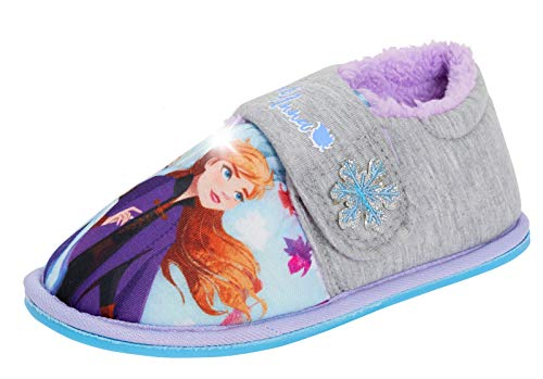 Disney Frozen 2 Zapatillas con luz para niñas Elsa Anna Kids Forro Polar Luces Intermitentes Zapatos de casa, Color Gris, Talla 31 EU