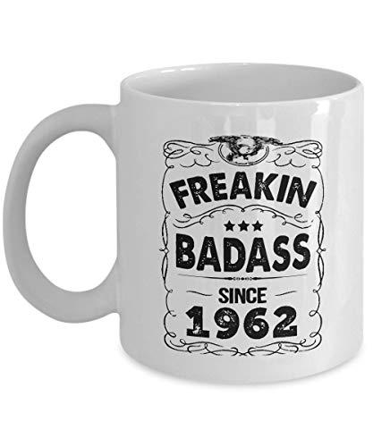 Birthday Mugs - Freakin Badass Since 1962 Coffee Mugs - 55th Birthday Gifts idea for Men, Women, Dad, Mom, Grandpa, Grandma - Best Funny, Inspirational Gift - 11oz Tea cup White (55th Birthday Ideen)
