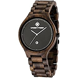 Greentreen Wooden Watches for Men Lightweight and Adjustable Color Black