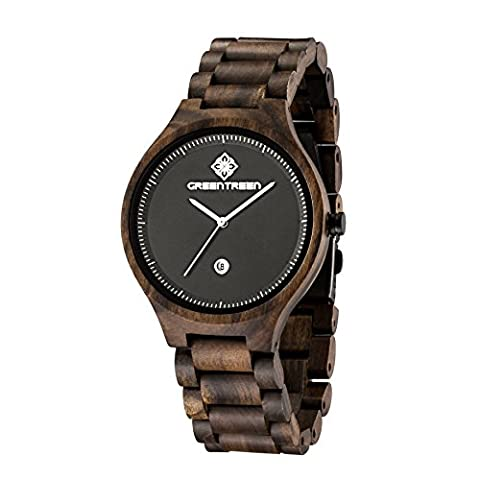 Greentreen Wooden Watch for Men Analogue Display Time and Date All Black Quartz Watch Strap 22mm Dial 42mm Gents Wrist
