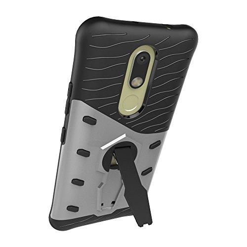 Pour Moto M / XT1662 Case Nouveau Armure Tough Style Hybride Dual Layer Armor Defender Soft TPU / PC Case arrière avec support 360 ° [Boîtier antichoc ( Color : Silver ) Silver
