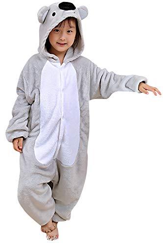YAOMEI Kinder Unisex Jumpsuits, 2018 Kostüm Tier Onesie Nachthemd Schlafanzug Kapuzenpullover Nachtwäsche Cosplay Kigurum Fastnachtskostuem Weihnachten Halloween (120-130CM(47''-51''), Koala)