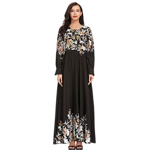 Marokkanische Kostüm Frauen - AmyGline Muslimische Kleider Damen islamische Kleider Druck Elegant Slim Lang Kleid Maxikleid Langarm Muslim Arab Kleid Dubai Kaftan Ramadan Kleider Gebet Kleid