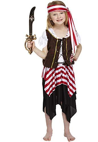 (Fancy Me 4 Stück Mädchen Seeräuber Karibik Piraten-Party büchertag Halloween Kostüm Kleid Outfit 3-12 Jahre - Rot/weiß, 4-6 Years, Rot/weiß)