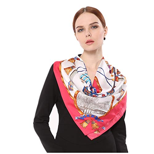 Duhongmei123 Schal Schal Europa und Amerika Twill Seide Square Handtuch handgefertigt Curling bedruckter Seidentuch, Mode-Accessoires (Farbe : Rosa)