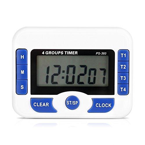 Digitaler Küchentimer, 4 Kanal Timer für Unabhängige Gruppen, Countdown Magnetküchen Kochuhr (Weiß und Blau)