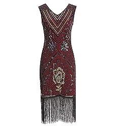 Lazzboy Kleid Kostüm Frauen Vintage 1920er Jahre Flapper Mit Fransen Pailletten Quaste Damen Retro Stil Kleider Voller Runder Ausschnitt Great Gatsby Motto Party(Rot,S)