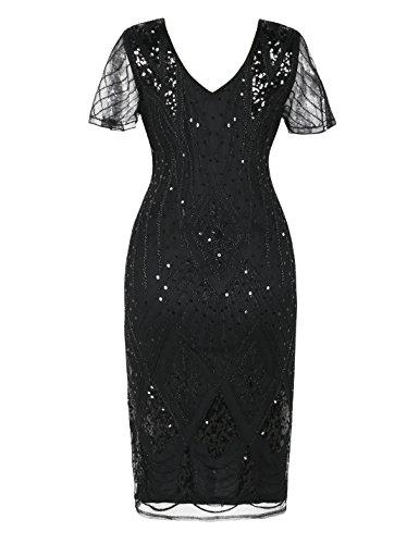 PrettyGuide Damen Charleston Kleid 20er Jahre Pailletten Gatsby Kleid Kurzarm S Schwarz - 3