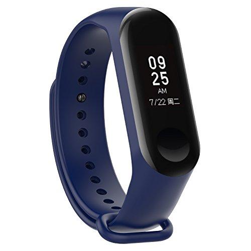 XIHAMA - Correa de Silicona Suave de Repuesto para Reloj Deportivo Inteligente Xiaomi Mi Band 3 (Azul Oscuro)
