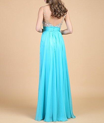 YOGLY Pailletten V-Ausschnitt A-Linie Vintage Damen Kleid Maxi Kleid Elegant Lange Kleid Sommer Strandkleid Dress Bodenlang Kleider Abend Kleider Cocktailkleid Partykleid Blau