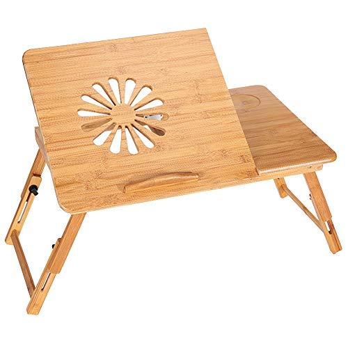 YFUIOVX Klapptisch Bett Bambus Computer Laptop-Tisch (mit Schublade), Multifunktion Faul Lernen Schreibtisch Esstisch,Woodcolor,66 * 35...