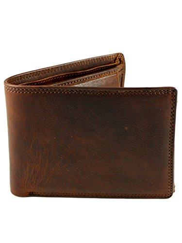 Klassische Herren echt Leder Geldbörse Vollleder Cognac Braun - Bifold Lederbörse (Klassische Hipster Brieftasche)