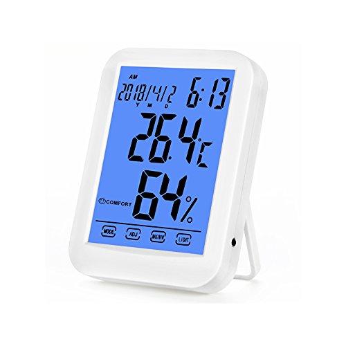 Digital Thermometer Hygrometer - COLEMETER LED LCD Wetterstation Barometer für Innen Wecker Touchscreen Barometer mit Hintergrundbeleuchtung Temperatur und Luftfeuchtigkeitsmesser