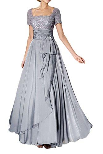 Victory Bridal Glamour Spitze Kurz Aermeln Lang Abendkleider Ballkleider Brautmutter Formal Chiffon Silber