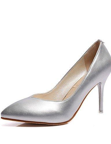 GS~LY Damen-High Heels-Lässig-PU-Stöckelabsatz-Absätze-Schwarz / Rosa / Rot / Weiß / Silber white-us5 / eu35 / uk3 / cn34