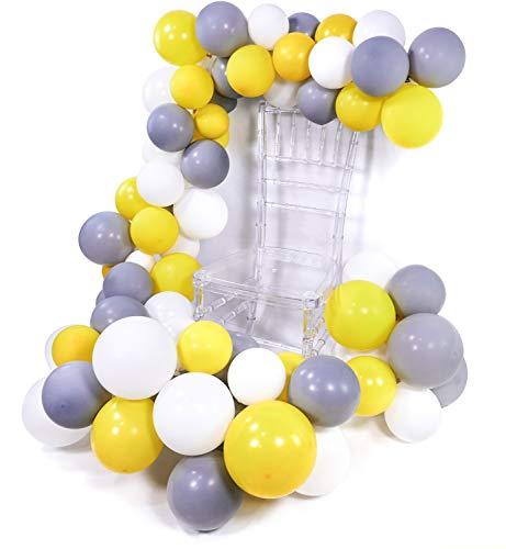 � Luftballons 60 Stück Grau Luftballons Luftballons Weiß Gelb Luftballons, Luftballons Matt Helium Luftballons für Grau Deko Hochzeit, Partydeko Weiß, Deko Taufe, Baby Shower ()