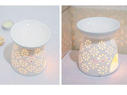 ^ Creativa lampada aromatica forata Debon in ceramica colore: bianco latte; motivo: floreale; diffusore di oli essenziali; lampada per aromaterapia; bruciatore d'incenso; forno per candela; portacande (A) comprare on line