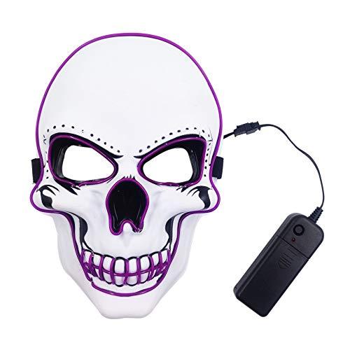 Zounghy Halloween Schädel LED Maske grün leuchten Maske beängstigend Halloween Kostüm Cosplay Ghost Horror White - Beängstigend Halloween Kostüm