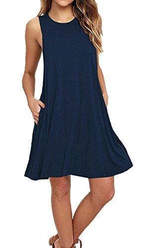keerda Damen Casual Sommerkleid Trägerkleid Lose T-Shirt Kleid knielang Strandkleid A-Linie Kleider (L, Marine Blus) (Blu-neckholder)