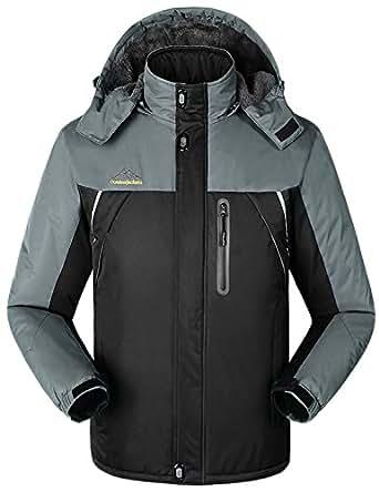 """iLoveSIA Men's Waterproof Mountain Jacket Fleece Windproof Outdoor Coat Black UK Size L (Fit Your Chest 43"""")"""