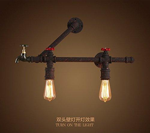 Vintage Loft Steampunk Rohr Wandleuchte Schwarz Matt & rustikalen Finish Wandleuchte Lampe, Lampe