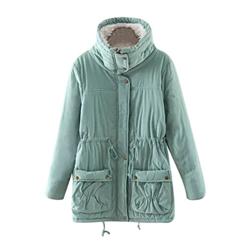 YouPue Mantel Damen Winter Parka Mit Plüsch Gefütterte Kapuze Verdicken Steppjacke Wintermantel MantelJacke Warme Herbst Winter Frauen Grüne Bohnen