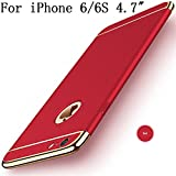 """iPhone 6s Case, iPhone 6 4.7"""" Case,Heyqie 3 in 1 Ultra-thin 360 Full Body Anti-Scratch Shockproof Hard PC Non-Slip Skin Smooth Back Cover Case with Electroplate Bumper For Apple iPhone 6 6s 4.7"""" - Red"""