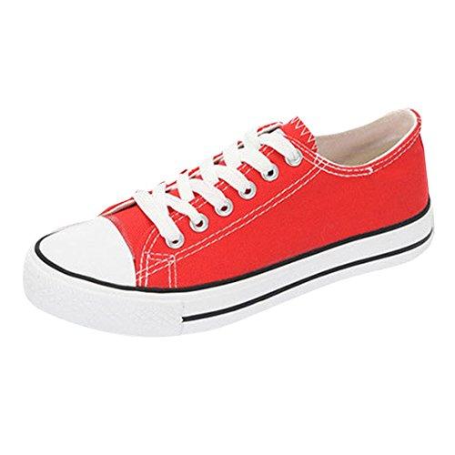 Oasap Damen Klassisch Canvas Schnürsenkel Sneakers Red
